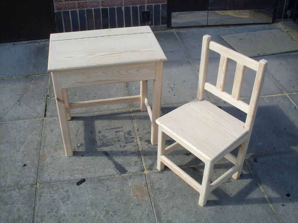 Hand Crafted Childrens Desk And Chair Kids Table Seat
