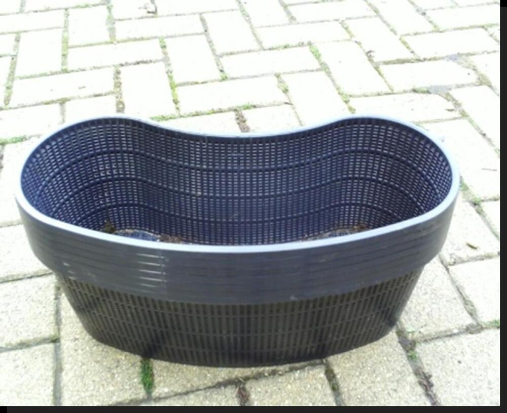 2 large new kidney shaped plastic aquatic pond pots for Pond filter basket