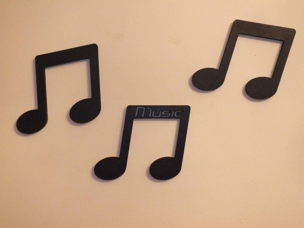 Set of 3 black wood musical notes 4quot wall door letters for Black wall letters