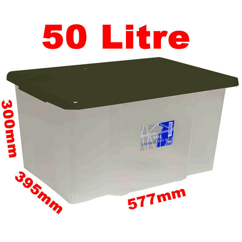 10 X 50l 50 Litre Large Size Plastic Clear Storage Box