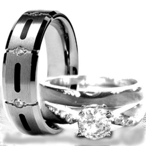 His & Hers 3 pcs Womens STERLING SILVER & Mens TITANIUM ...