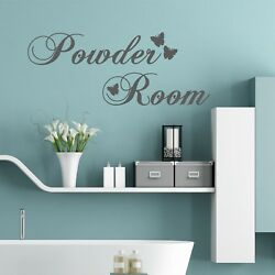 Powder Room (With Butterflies) Wall Words Quote Stickers Decals Bathroom