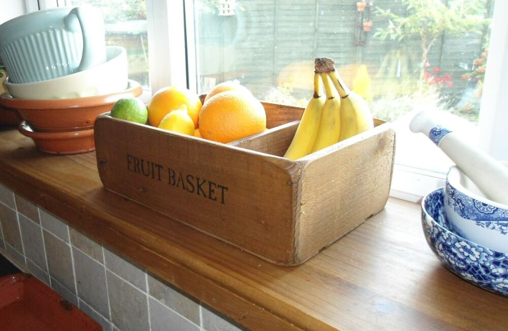 new old country farmhouse fruit basket bowl size m. Black Bedroom Furniture Sets. Home Design Ideas