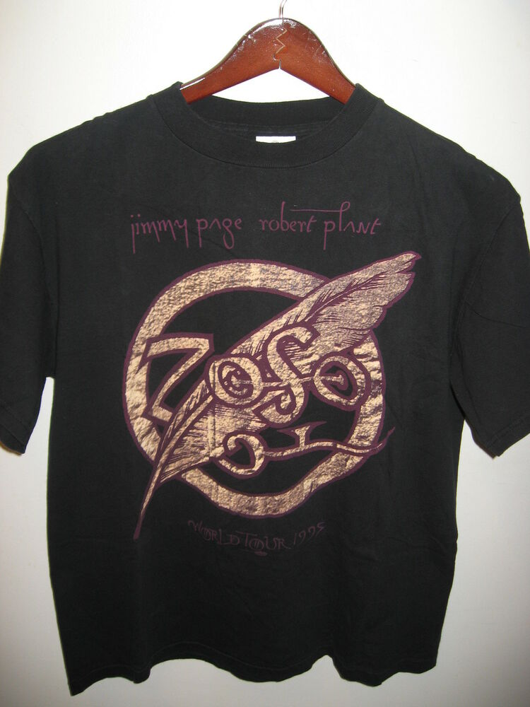 Jimmy Page Robert Plant Zoso 1995 World Concert Tour Black Unworn T Shirt Large Ebay