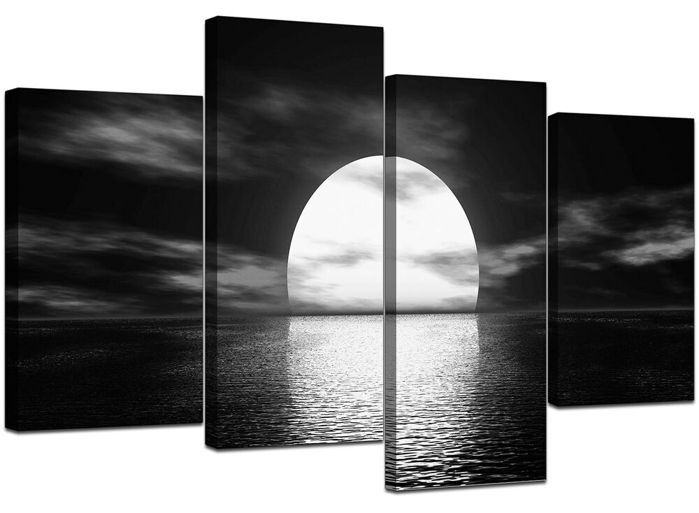 Large Black White Canvas Wall Art Pictures 130cm Wide
