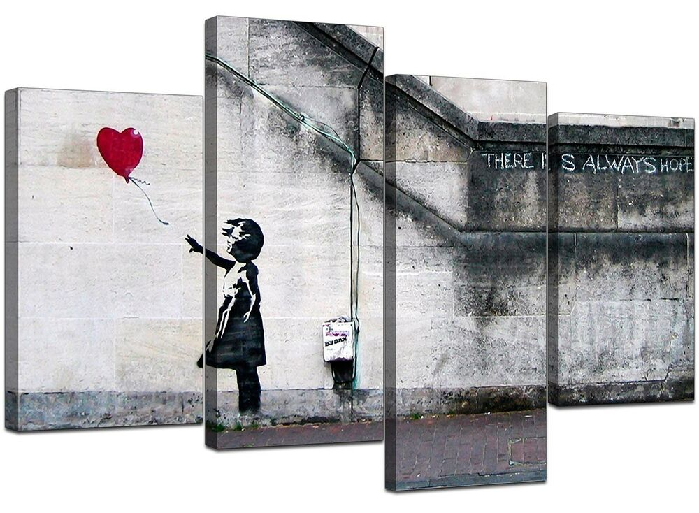 Extra Large Banksy Canvas Prints Balloon Girl 130cm Xl Red