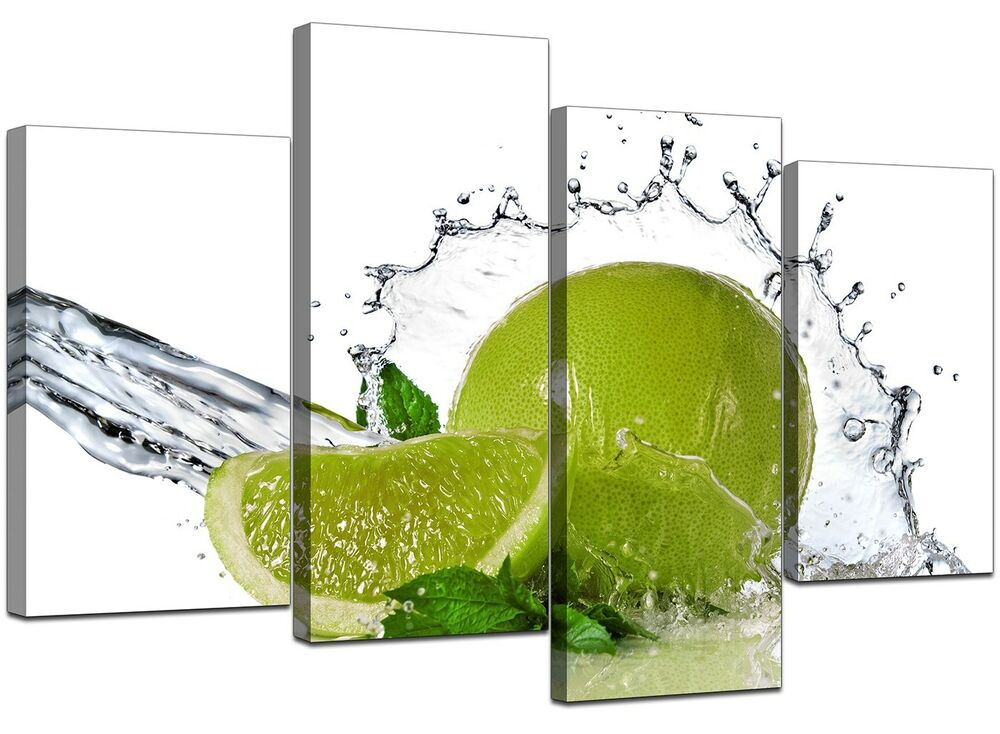 Large Lime Green Kitchen Canvas Wall Art Pictures 130cm Xl