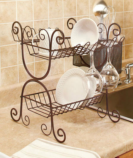 Wrought Iron Dish Rack A Decorative Way To Dry Your Dishes Ebay