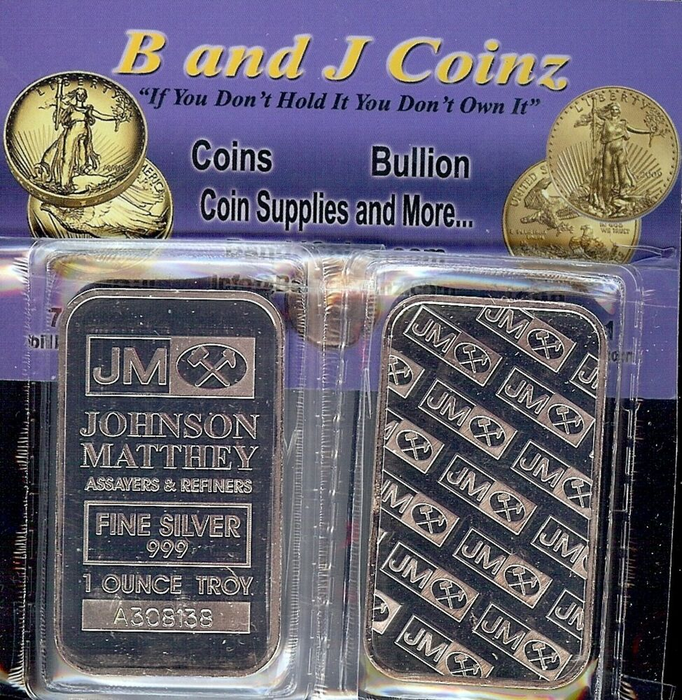 1 Troy Oz Freshly Minted Johnson Matthey Bar 999 Fine