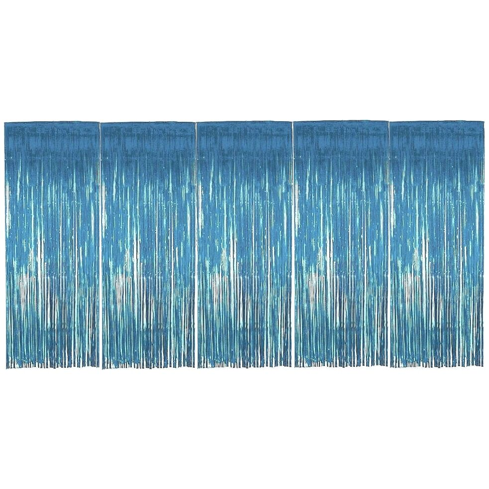 Pack of 5 Baby Blue Foil Door Shimmer Curtains - Party Decorations ...