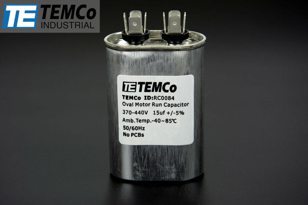 Temco 15 mfd uf run capacitor 440 vac volts ac motor hvac for How to test a motor start capacitor