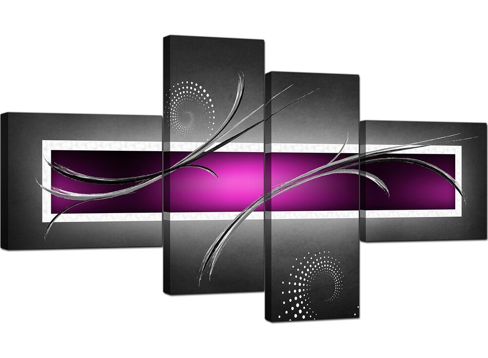 Large Purple Black Grey Abstract Canvas Pictures 160cm