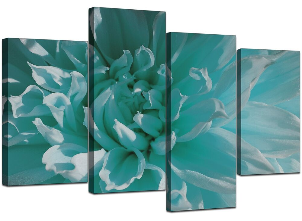 Large Teal Floral Flowers Canvas Wall Art Pictures Xl