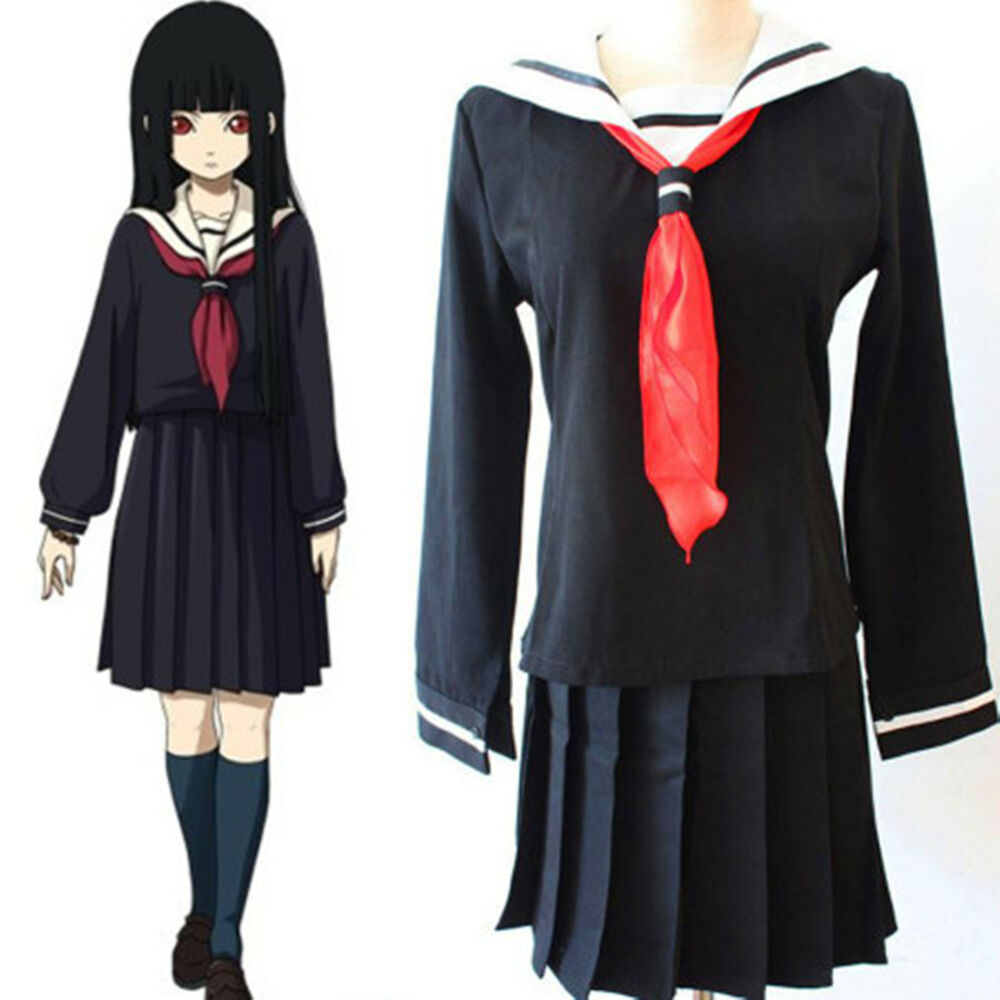Anime Hell Girl Ai Enma Anime School Uniform Halloween