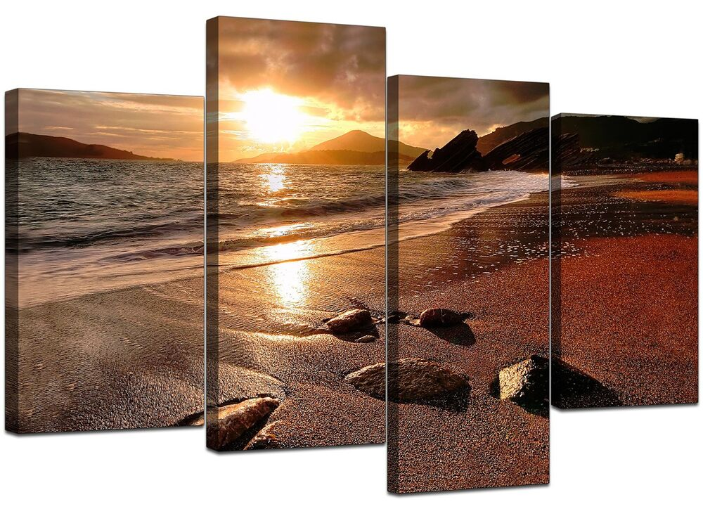 Large Sunset Beach Canvas Wall Art Pictures Living Room Prints Xl