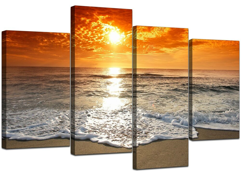 Large Sunset Beach Living Room Canvas Wall Art Pictures ...