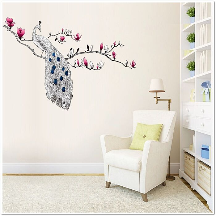 large peacock magnolia flowers wall stickers decals mural girl children boy ebay. Black Bedroom Furniture Sets. Home Design Ideas