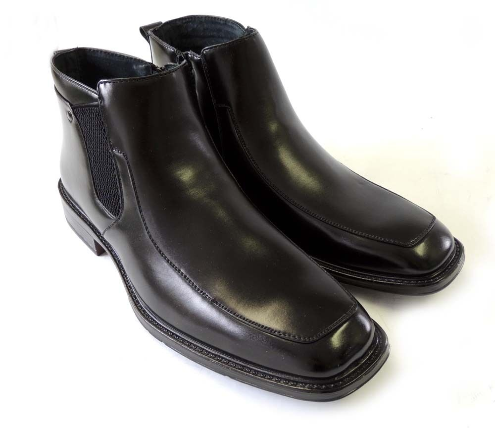 new mens leather ankle boots casual zippered stretch fit