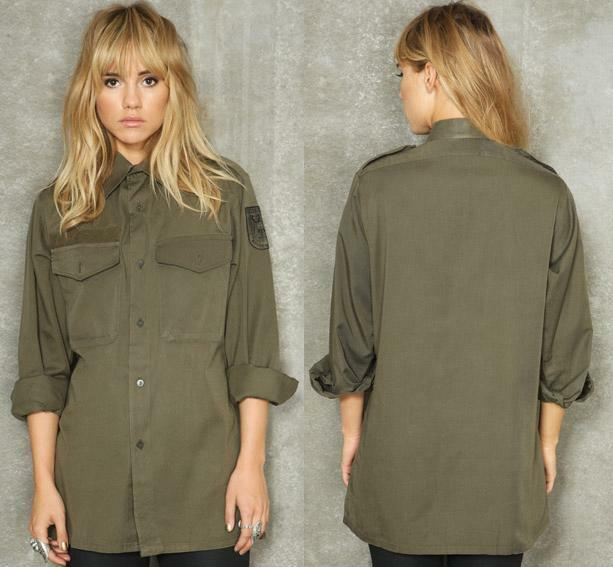 MILITARY ARMY KHAKI VINTAGE SHIRT JACKET CAMO LADIES AUSTRIAN 8 10 ...