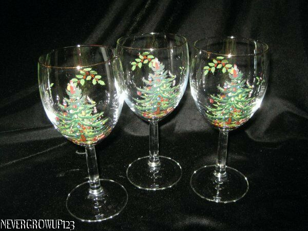 SPODE CHINA~CHRISTMAS TREE~SET OF 3~12 OZ WATER GOBLETS