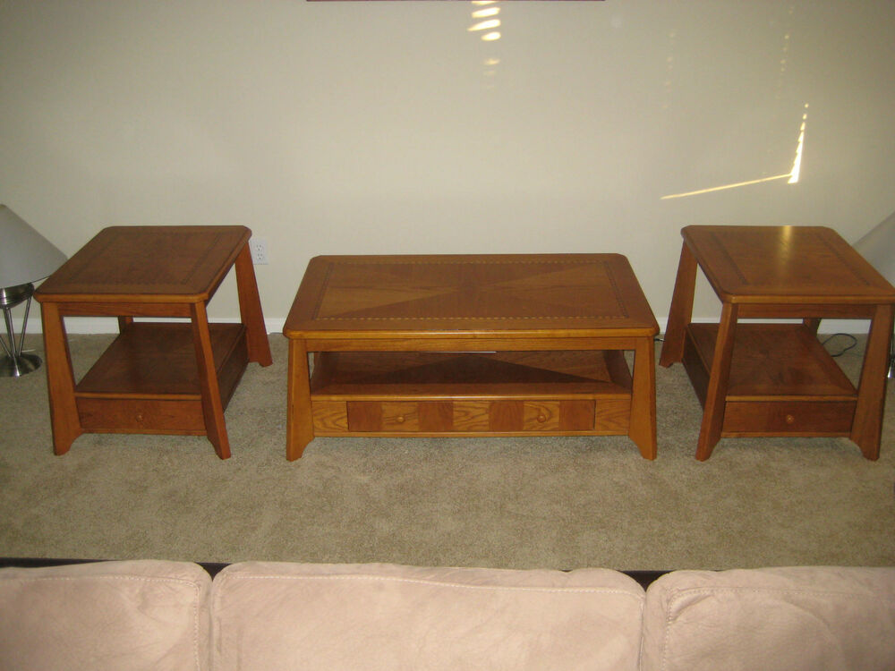 3 piece living room coffee end table set look - Brickmakers coffee table living room ...