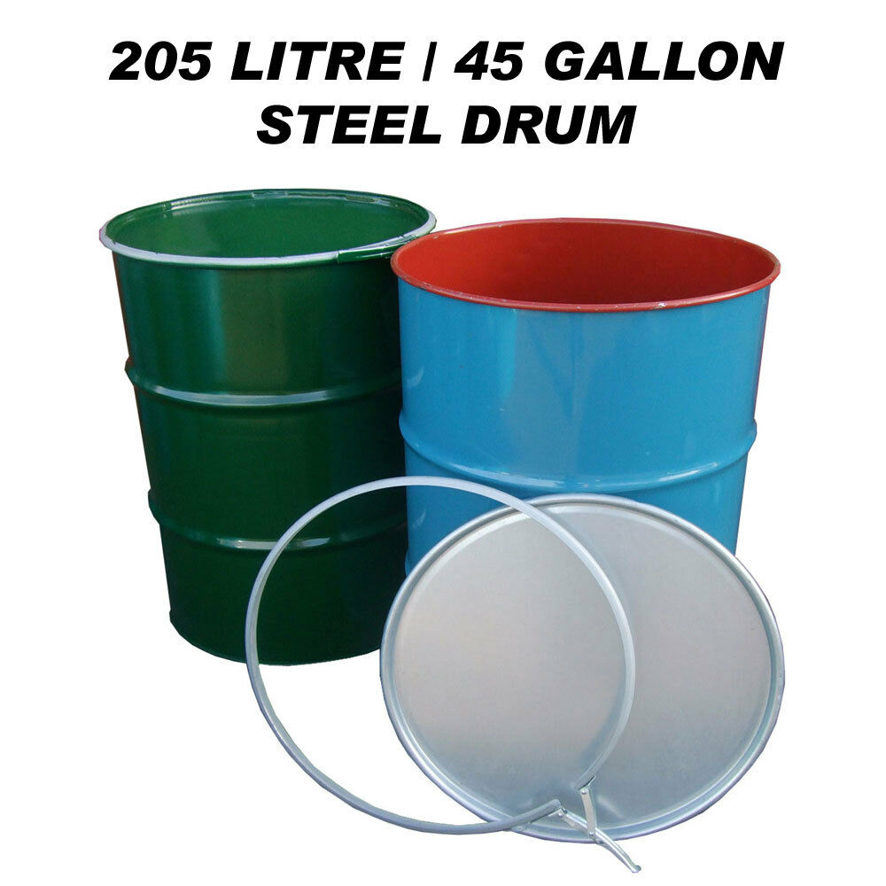 205 litre 45 gallon steel drum barrel container for shipping waste feed bin ebay. Black Bedroom Furniture Sets. Home Design Ideas