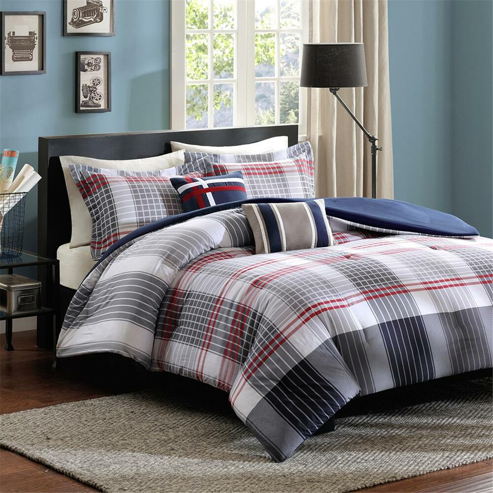 new blue red grey white plaid stripe boys comforter set full queen twin xl szs ebay. Black Bedroom Furniture Sets. Home Design Ideas