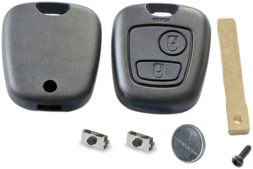 repair kit for peugeot 307 2 button remote key case switches battery ebay. Black Bedroom Furniture Sets. Home Design Ideas
