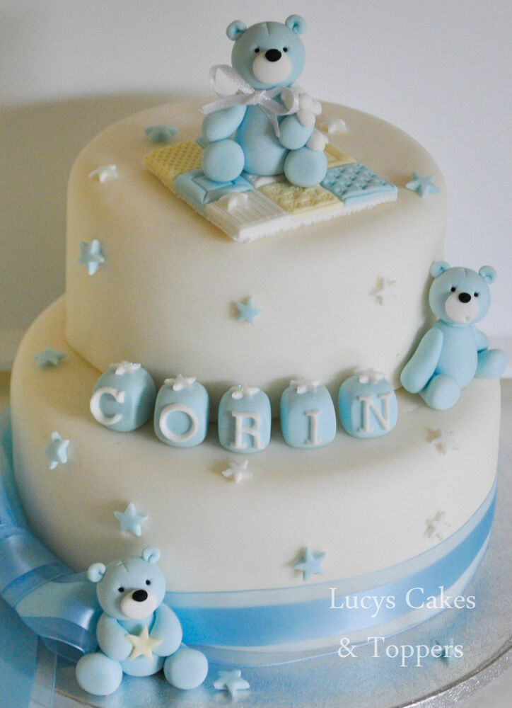 3 teddy cake toppers decoration set christening name for Baby boy cake decoration