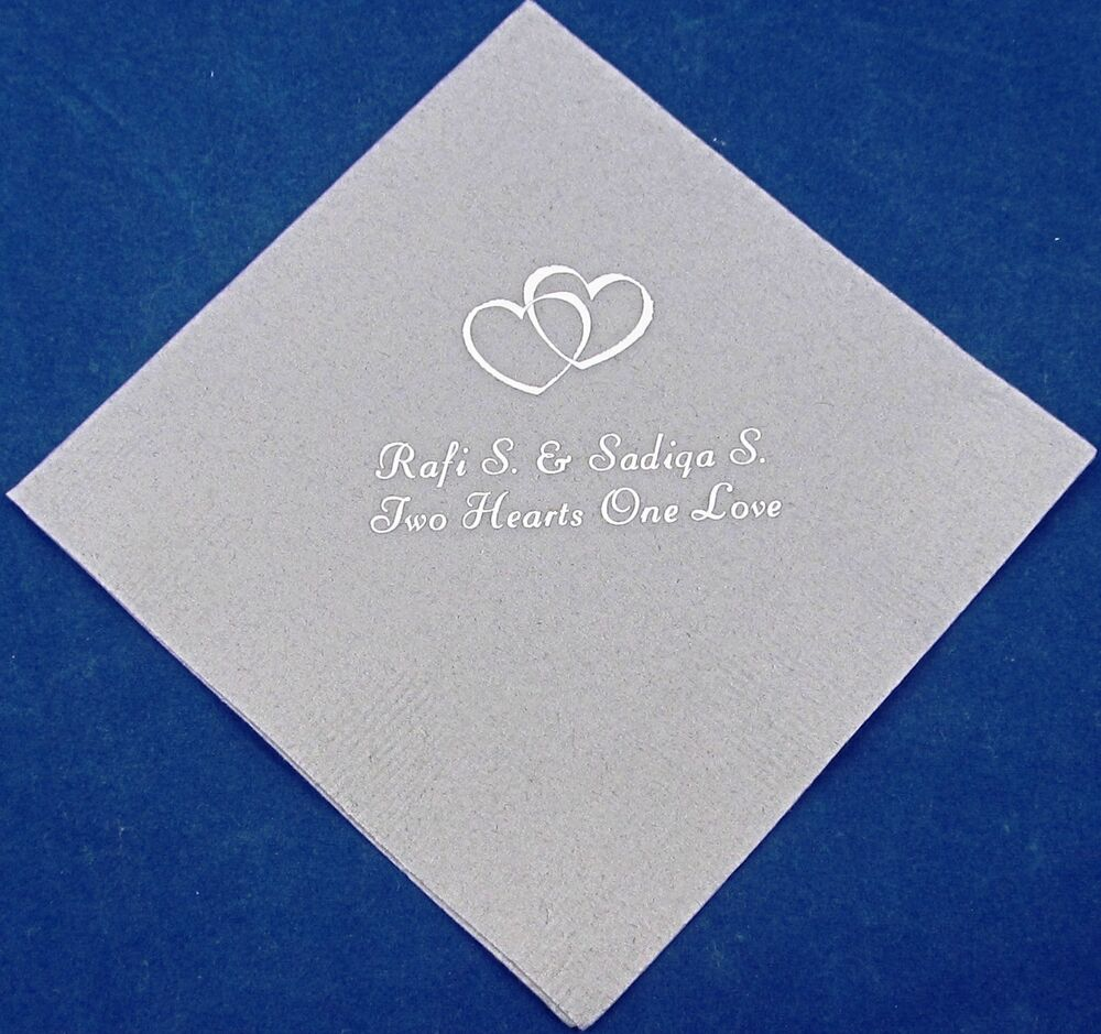 personalized wedding beverage napkins cocktail custom printed wedding