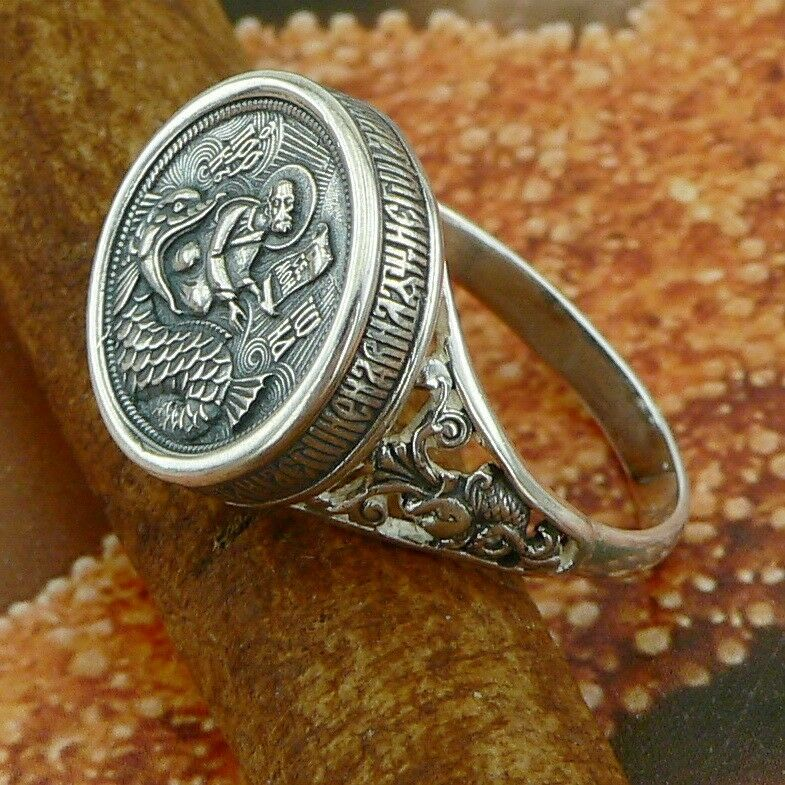 russian orthodox sterling silver ring st jonah no