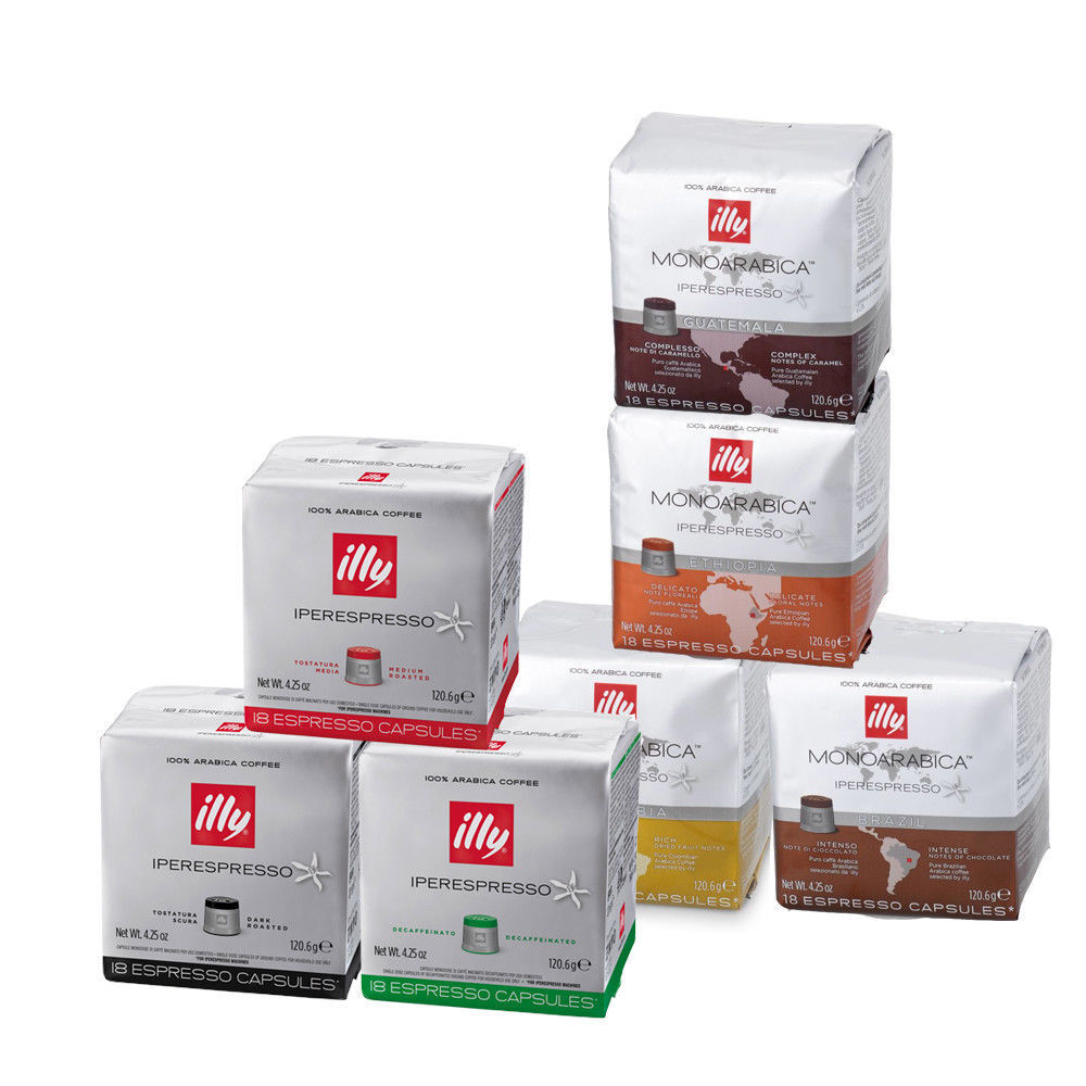 378 capsules illy coffee for iperespresso machine 18 cans assorted espresso ebay. Black Bedroom Furniture Sets. Home Design Ideas