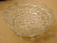 Retro Clear Glass Bowl with a Design of Squares and a Cutout Rim