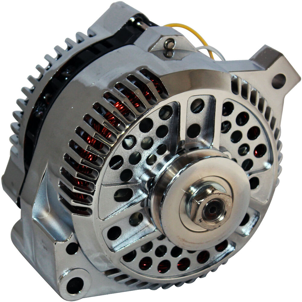 250amp high output chrome alternator fits 1 wire ford. Black Bedroom Furniture Sets. Home Design Ideas
