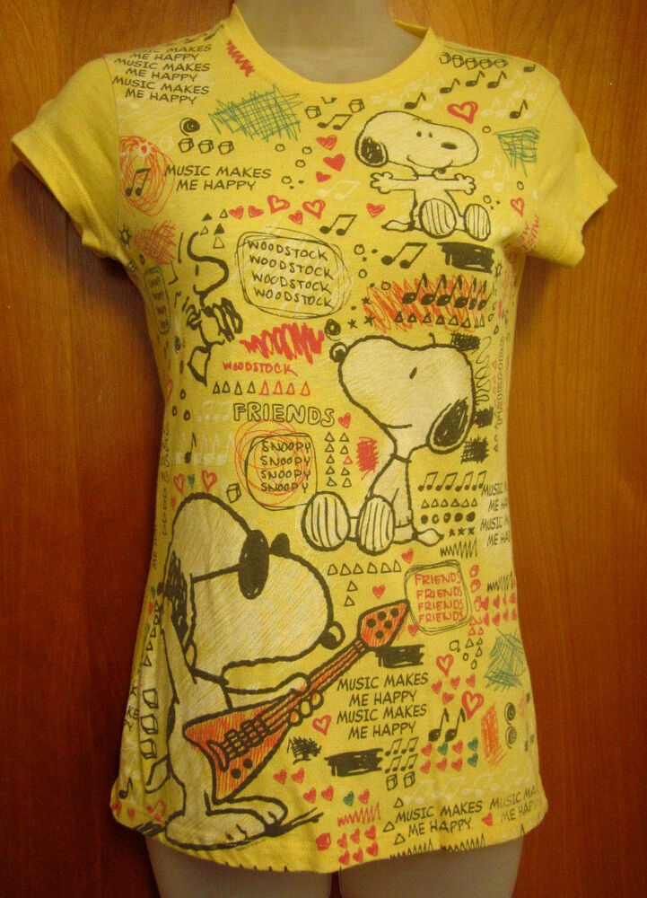 peanuts small juniors t shirt snoopy music makes me happy joe cool. Black Bedroom Furniture Sets. Home Design Ideas