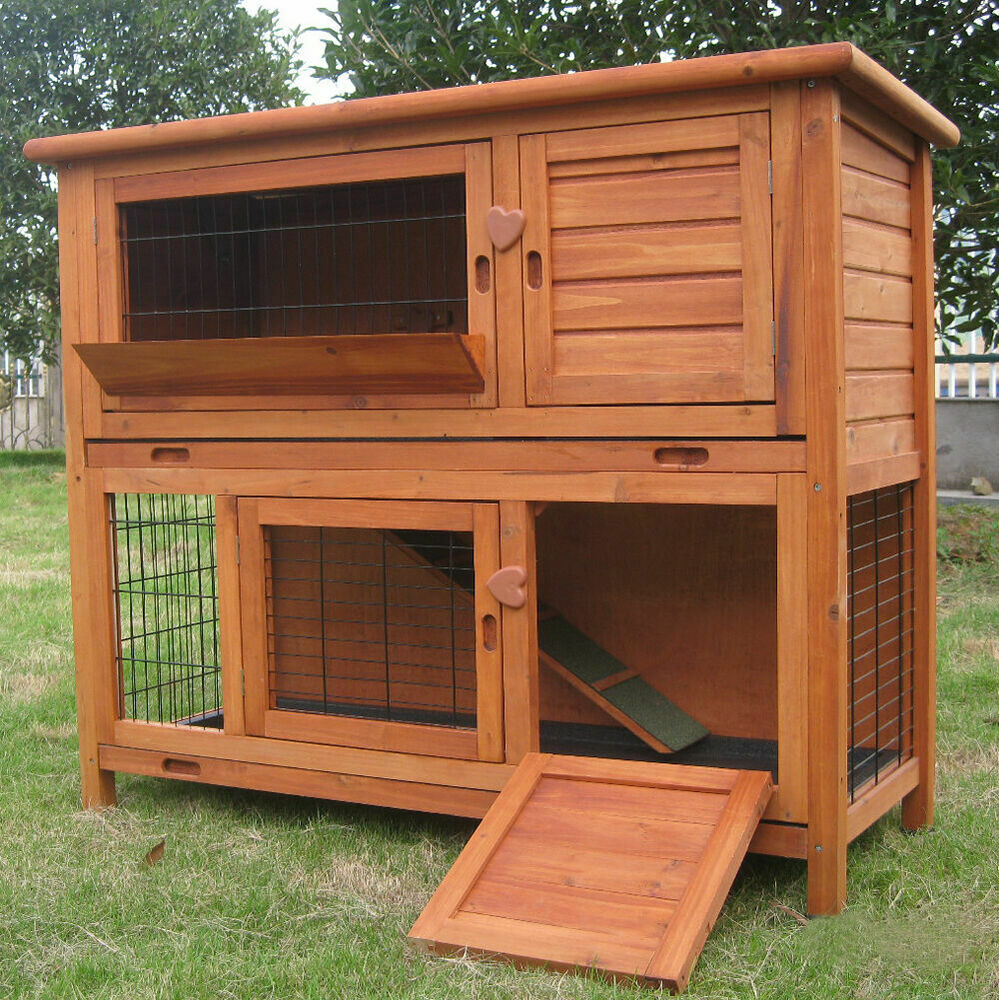4ft large double rabbit hutch guinea pig run deluxe pet hutches cage pets ebay. Black Bedroom Furniture Sets. Home Design Ideas