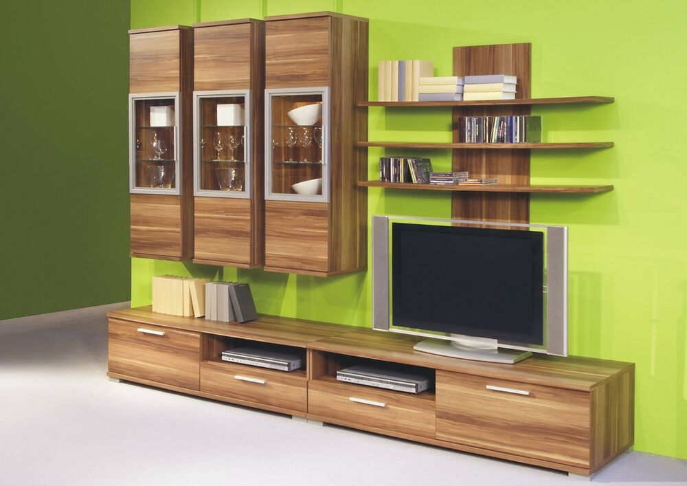 wohnwand walnuss dekor led beleuchtung wohnzimmerschrank anbauwand neu ebay. Black Bedroom Furniture Sets. Home Design Ideas
