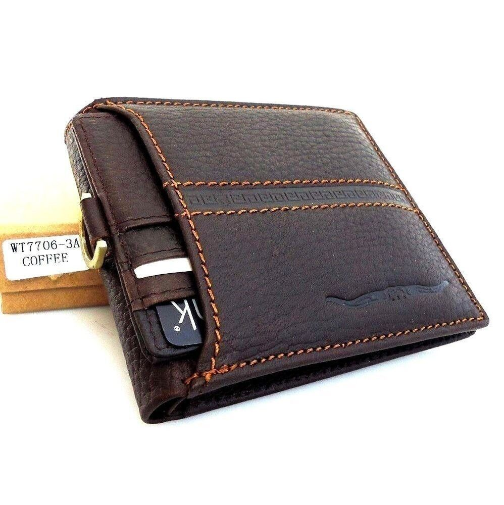 Men's Full Leather wallet 6 Credit Cards Slots 2 id ...