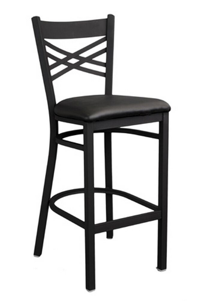 Restaurant Bar Stools X Back Black Metal 1 Dozen Wholesale