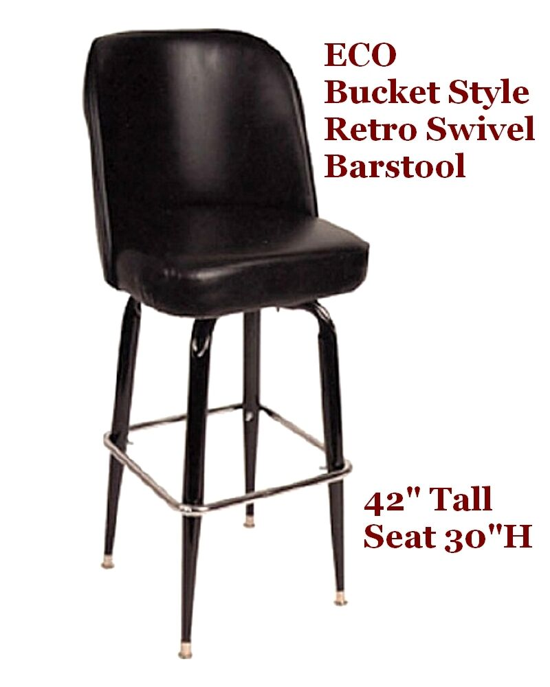 Retro Bar Stool Bucket Style 1 Doz Black Swivel New