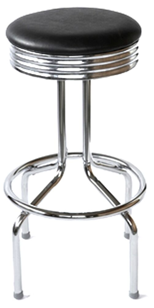 Retro Bar Stool 1950s Vintage Diner Style Swivel Chrome