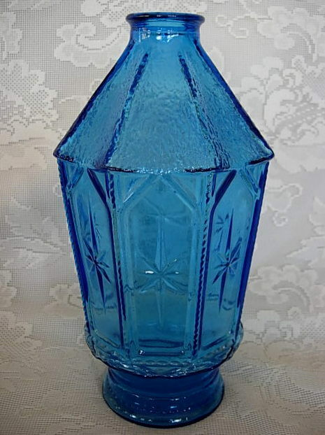 Unusual collectible vintage large wheaton turquoise blue for Interesting bottle shapes