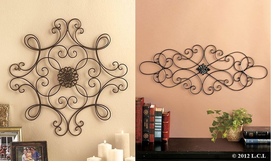 iron scroll metal wire wall medallion hanging modern abstract art decor ebay. Black Bedroom Furniture Sets. Home Design Ideas
