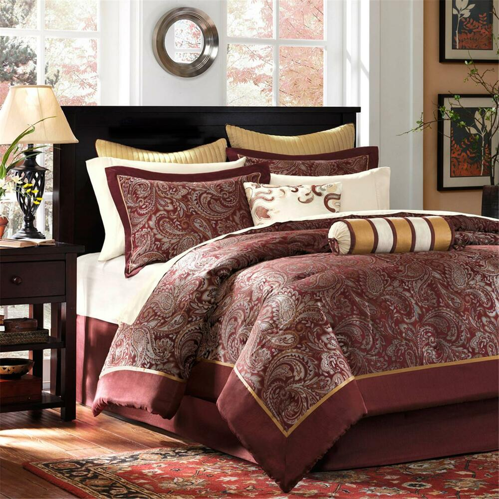 Beautiful elegant comforter set sheets gold grey red for Elegant white comforter sets