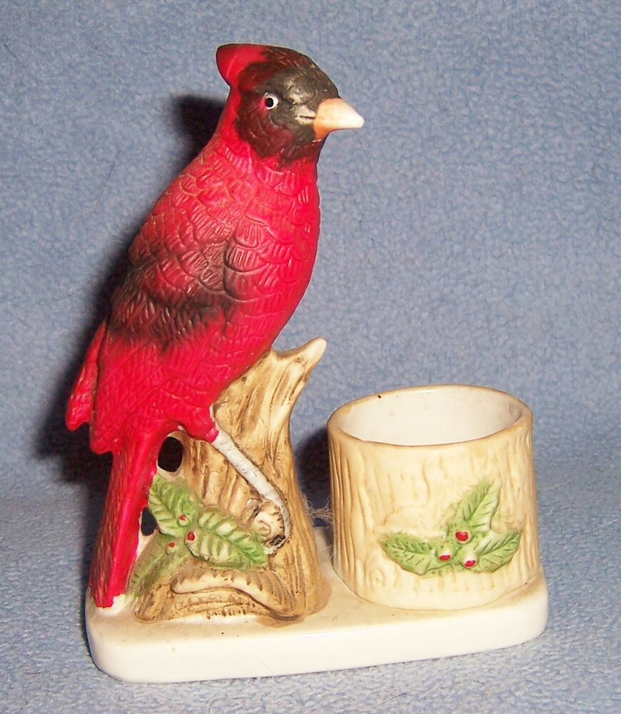 Vintage Luvkin Song Bird Cardinal Figurine Hand Painted