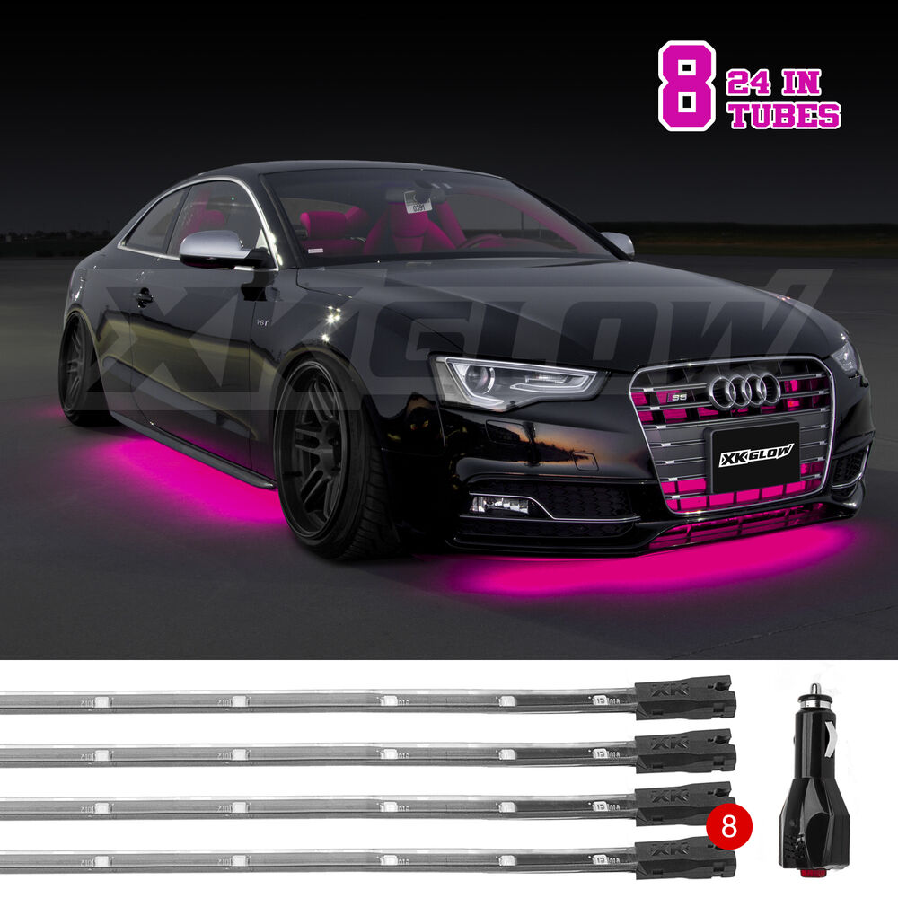6pc Car Interior Neon Underglow Accent Light Kit: 8pc Pink Car Truck Underglow Under Body Neon Accent Glow