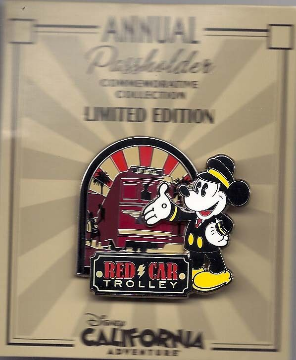 disney dca annual passholder mickey red car trolley pin le ebay. Black Bedroom Furniture Sets. Home Design Ideas