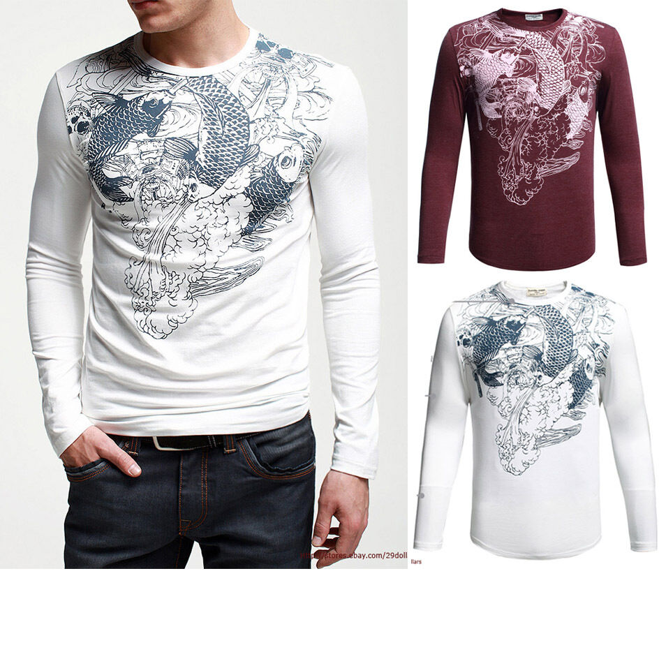 Fitted mens long sleeve t shirt graphic tee cotton for Long sleeve fitted tee shirt
