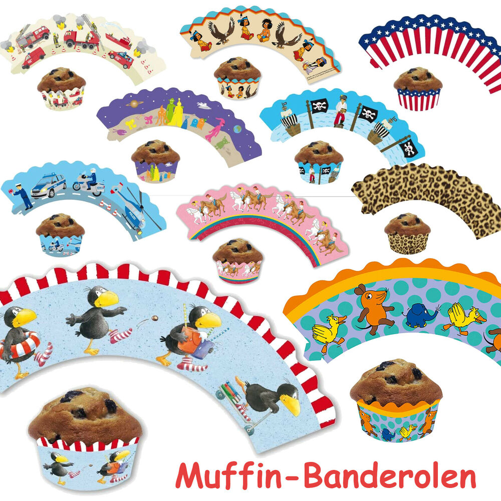 12 cupcake deko banderolen f r muffins kindergeburtstag party mega auswahl ebay. Black Bedroom Furniture Sets. Home Design Ideas