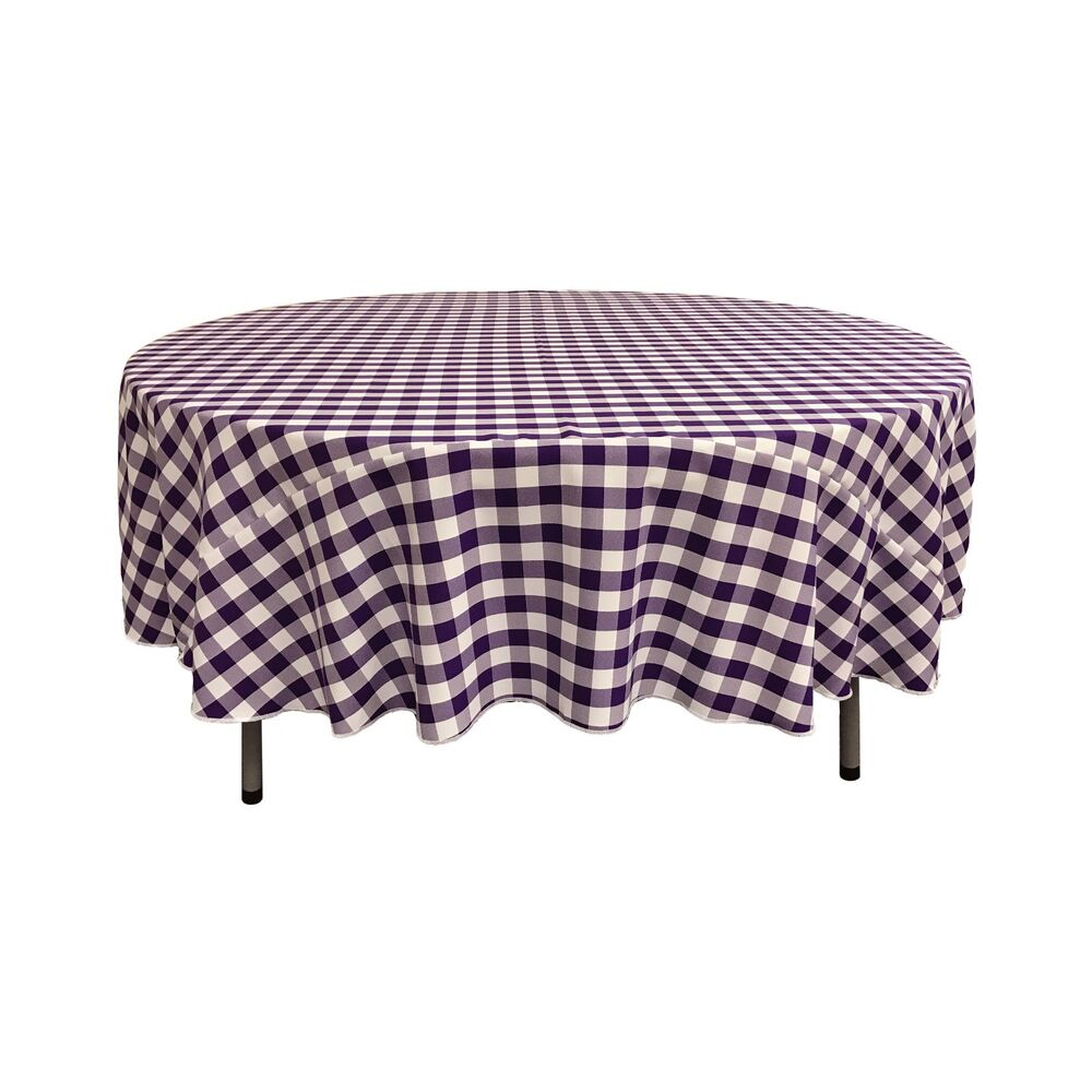 La Linen Polyester Gingham Checkered 90 Inch Round